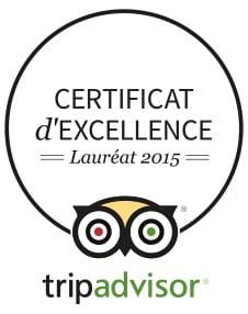 Certificat d'excellence Trip Advisor 2015