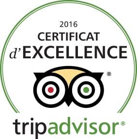 Certificat d'excellence Trip Advisor 2016